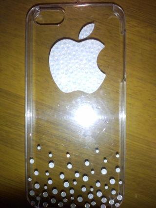 iPhone5ケース スワロフスキーデコ アップルマーク