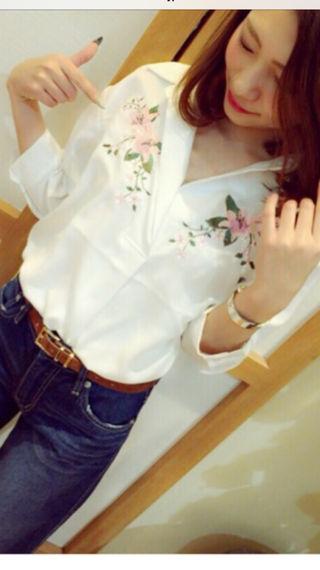 one*way・刺繍スキッパーシャツ・タフカンシャツ