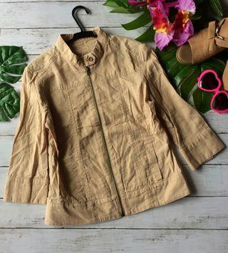 美品!ナイスクラップ麻混スタンドカラー×八部袖ジャケット