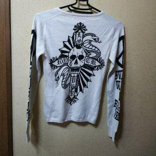 Sword Fish背中スカルとコブラのイラストセーターS