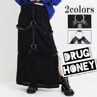 【DrugHoney】合皮ハーネスサイドスリットロングスカ