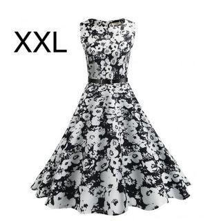 新品ベルト付き花柄ふんわり綺麗ワンピース XXL