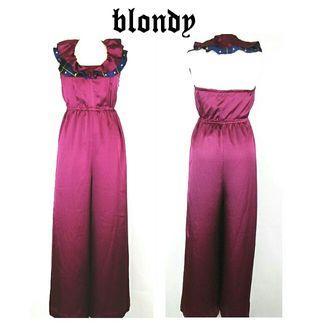blondy オールインワン ホルターネック 紫 スタッズ