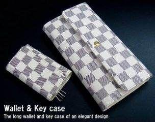 ef07c27e1fe5 ... 新品ブロックチェック柄ボタン長財布&キーケースセット(ノーブランド ) ...