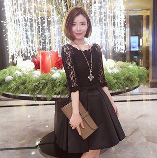 L/ブラック リボンが可愛い フェミニン ドレス レディース
