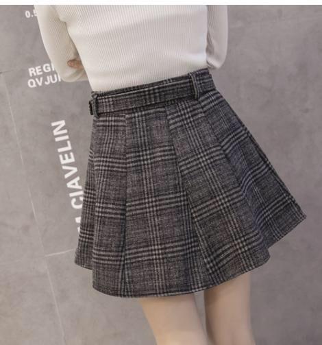 【グレー】L スカート ミニスカート チェック 柄 フレア