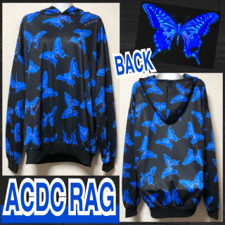 【新品/ACDC RAG】毒バタフライ総柄フーディー/ブルー