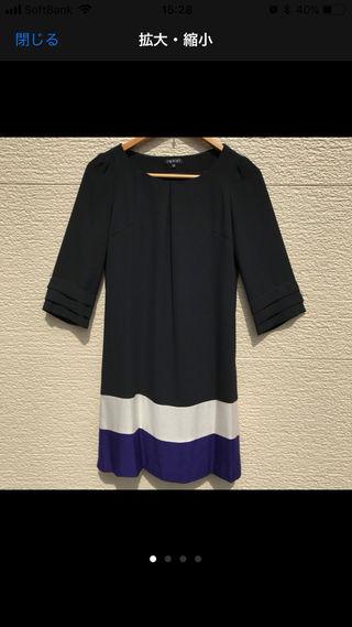 美品 INDIVI ワンピース 36 黒 グレー パープル