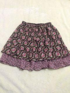 ハニーズ花柄二重スカート