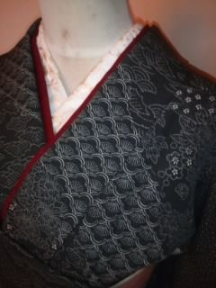 黒◆オシャレ*江戸小紋柄化繊袷162美品レタP