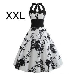 新品ホルターネックふんわり綺麗ワンピース ホワイトXXL