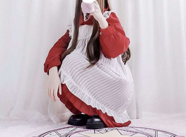 【新品】アリス風 レース ロリータ  ワンピース 赤