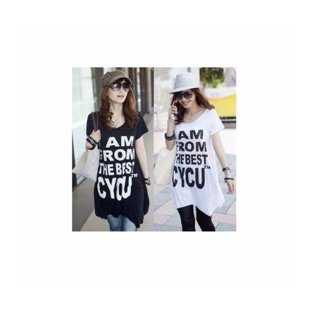 人気!プリントTシャツ★ホワイト/ブラック2色