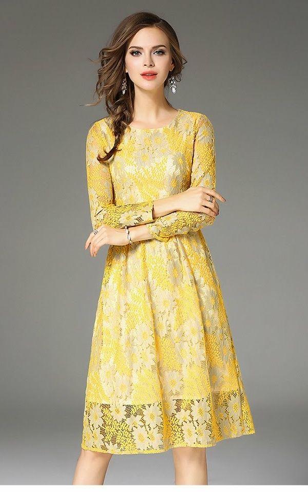 イエローレスワンピース花柄結婚式二次会お呼ばれドレス