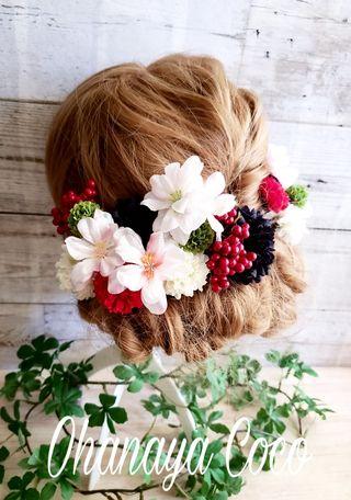 桜hirahira 赤と黒の髪飾り20点SetNo304