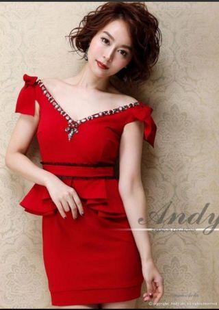 【新品】Andy リボン付Vカットペプラムミニタイトドレス