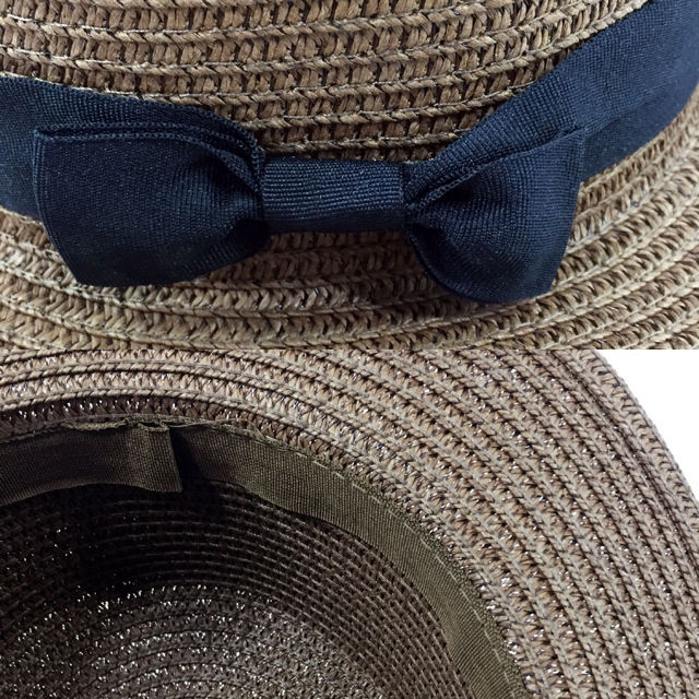 リボン付きカンカン帽 麦わら帽子 レディース  アイボリー
