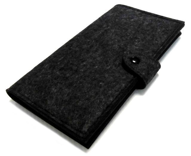 フェルト 多機能 母子手帳 パスポートケース ブラック