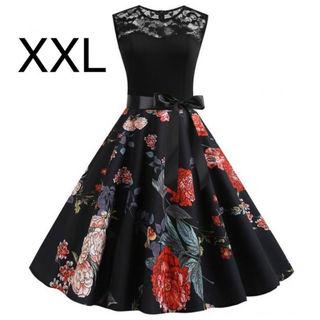 新品腰リボン付き胸レース花柄ワンピース ブラック XXL