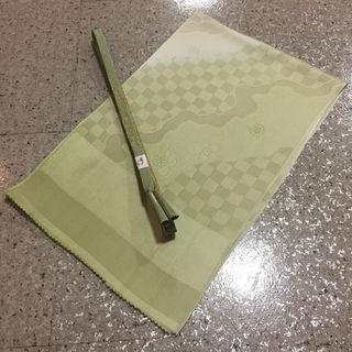 現品限り新品 正絹 薄緑桜市松模様 帯揚げ帯〆セット