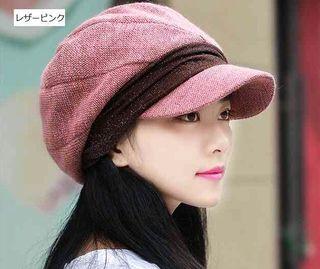 レザーピンク 小顔効果 防寒 キャスケット 帽子 女性