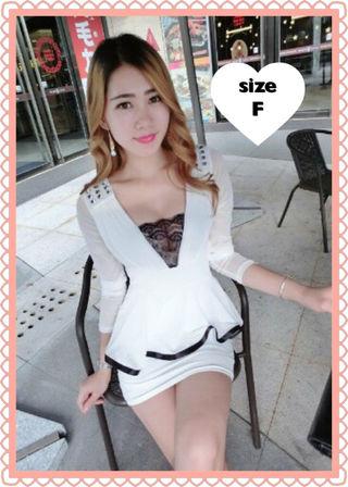 白 長袖 胸元セクシー 透け感 ペプラム キャバドレス