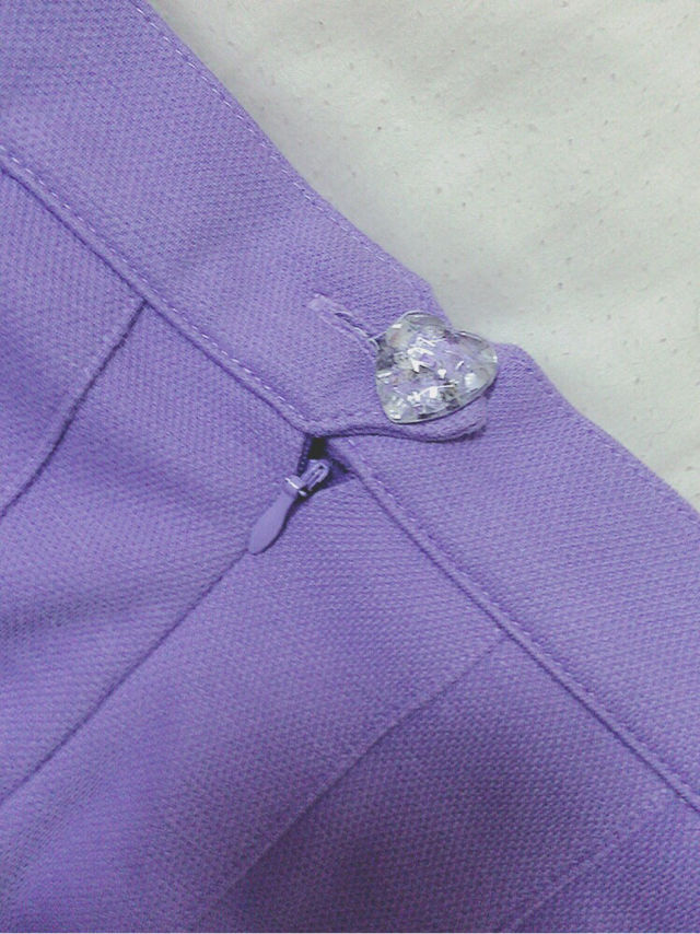 PECOCLUB ポロシャツ生地プリーツスカート 紫