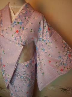 ピンク紫華ガーリー小紋化繊単157チョー美品