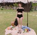ブラックオフショルダービキニ 韓国ファッション 水着