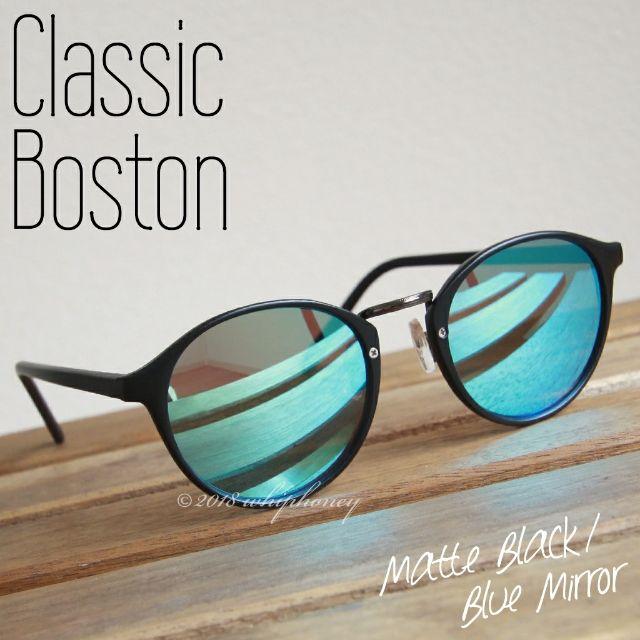 ラウンドボストンだて眼鏡 マットブラックフレームブルーミラー