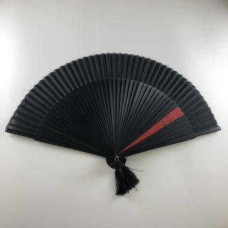 高級絹貼扇子 7寸 黒染 大短地 モダンツートン(赤)