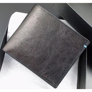 新品箱付 ポールスミス 上質ゴートレザー使用 折り財布 黒