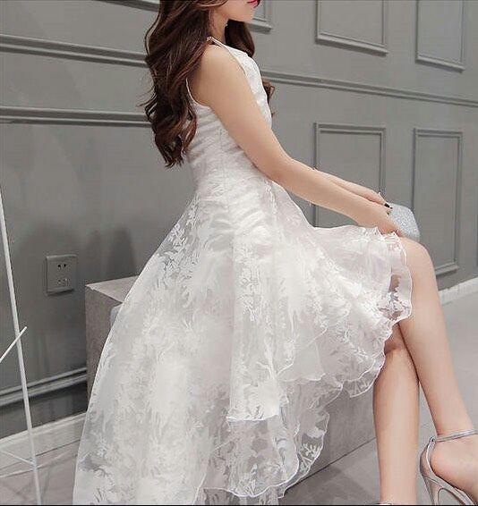 即日発送花柄オーガンジーフィッシュテールホワイト膝丈ドレス