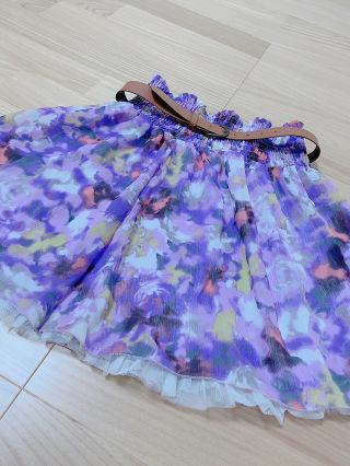 ベルト付きスカート