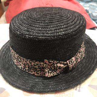麦わら帽子 ストローハット 小花柄リボン 57.5㎝