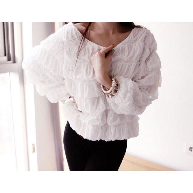 新品送料無料バッグリボン多層ギャザーシャツ白(00157) - フリマアプリ&サイトShoppies[ショッピーズ]