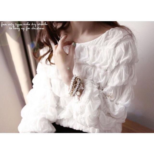 新品送料無料バッグリボン多層ギャザーシャツ白(00157)
