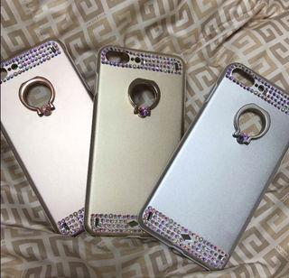 iPhone7Plus カバー ビジュー バンカーリング付
