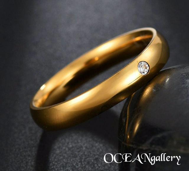 10号 ゴールドステンレススーパーCZシンプル甲丸リング指輪