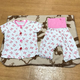 さくらんぼ柄半袖腹巻きパジャマ80