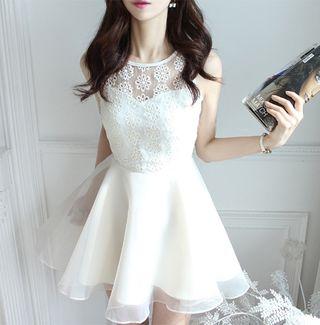 Lサイズ/ホワイト ワンピース ドレス ノースリーブ 結婚式