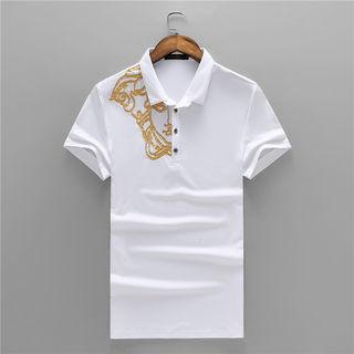 100%コットン 半袖 メンズ ヴェルサーチ ポロシャツ