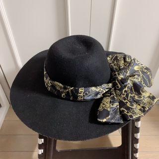 スカーフリボン付き女優帽
