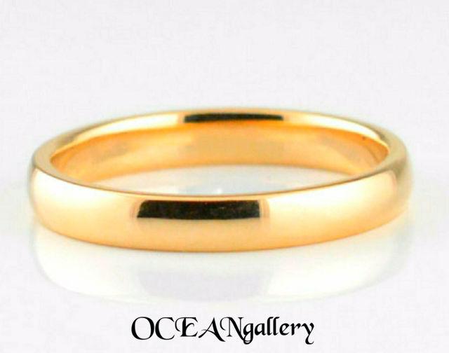 11号 ゴールドステンレススーパーCZシンプル甲丸リング指輪