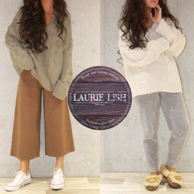 LAURIE LISH人気完売品鍵編みニットカーキ1点