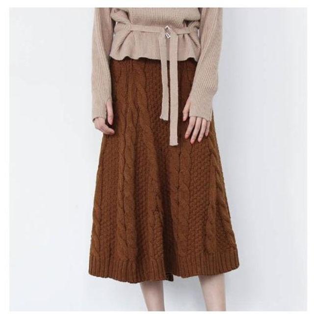【お洒落度◎】ニットスカート ブラウン ロング丈 ケーブル