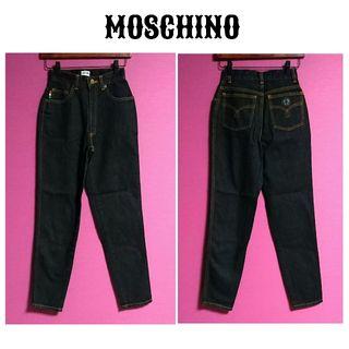 moschino 黒テーパードデニムパンツ デニム パンツ