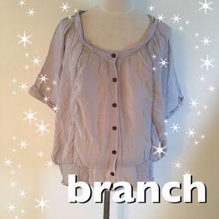 branchくしゅくしゅシャツグレーブラウスブランチ