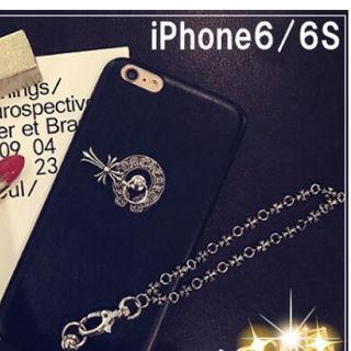 iPhone6/6S ケース クロムハーツ風  カバー 黒