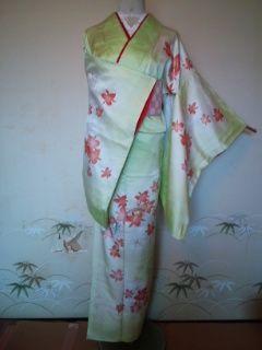 黄緑オレンジ華付下正絹袷163㎝美品点シミ